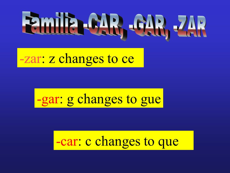 -zar: z changes to ce -gar: g changes to gue -car: c changes to que