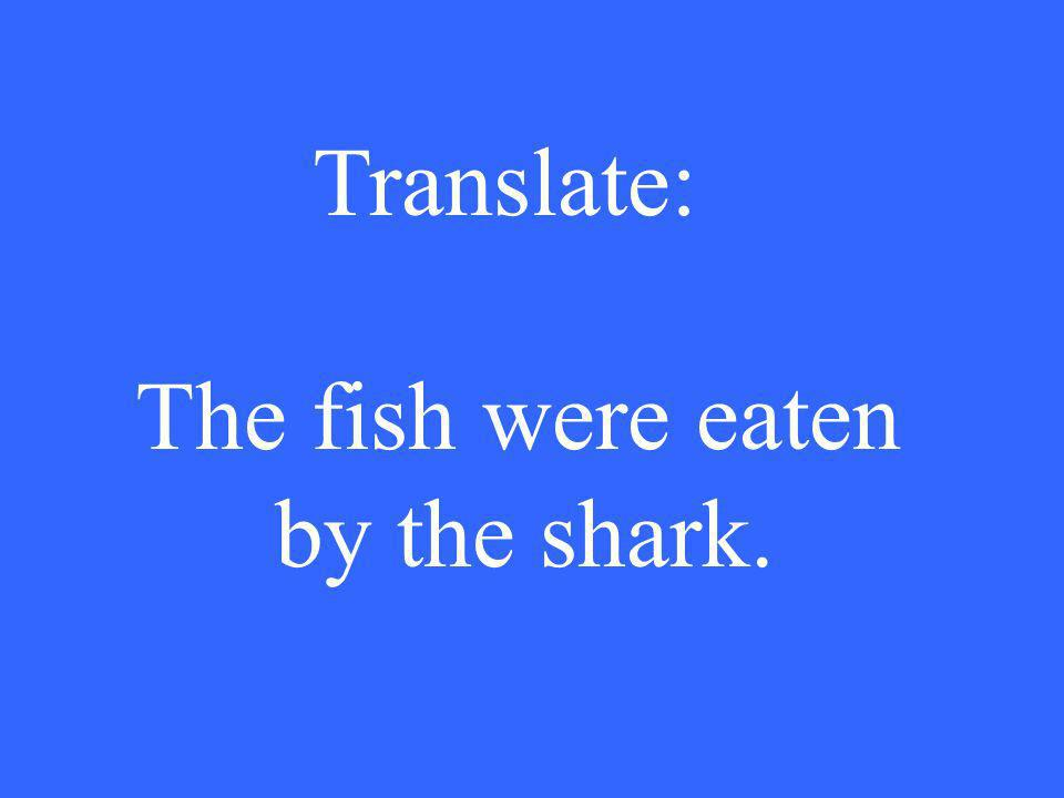 Translate: The fish were eaten by the shark.