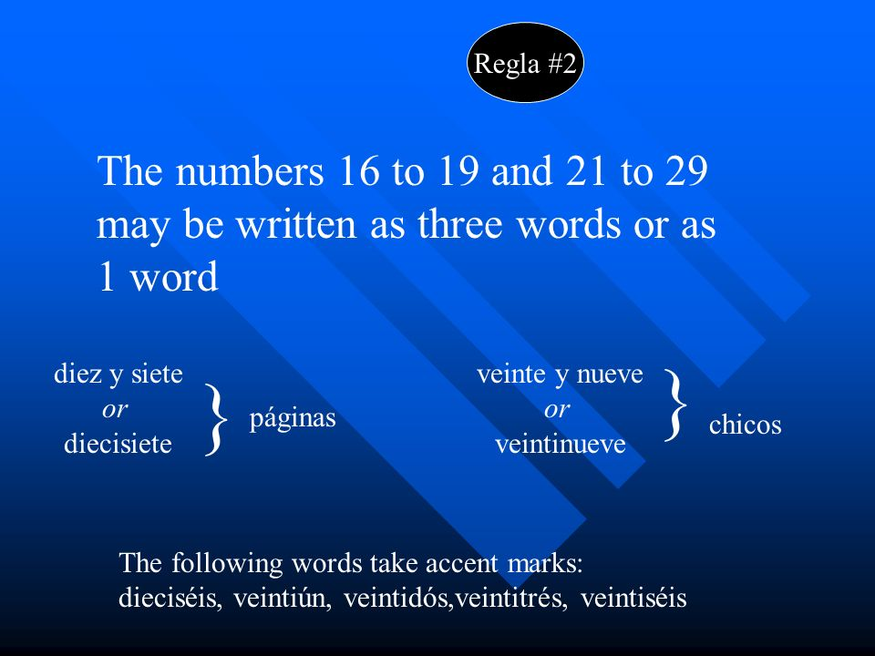 Regla #2 The numbers 16 to 19 and 21 to 29 may be written as three words or as 1 word diez y siete or diecisiete } páginas veinte y nueve or veintinueve } chicos The following words take accent marks: dieciséis, veintiún, veintidós,veintitrés, veintiséis