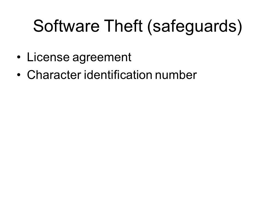 Software Theft (safeguards) License agreement Character identification number