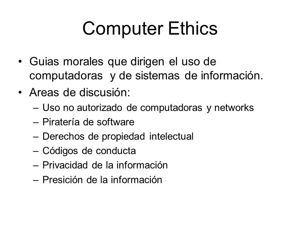 Computer Ethics Guias morales que dirigen el uso de computadoras y de sistemas de información.