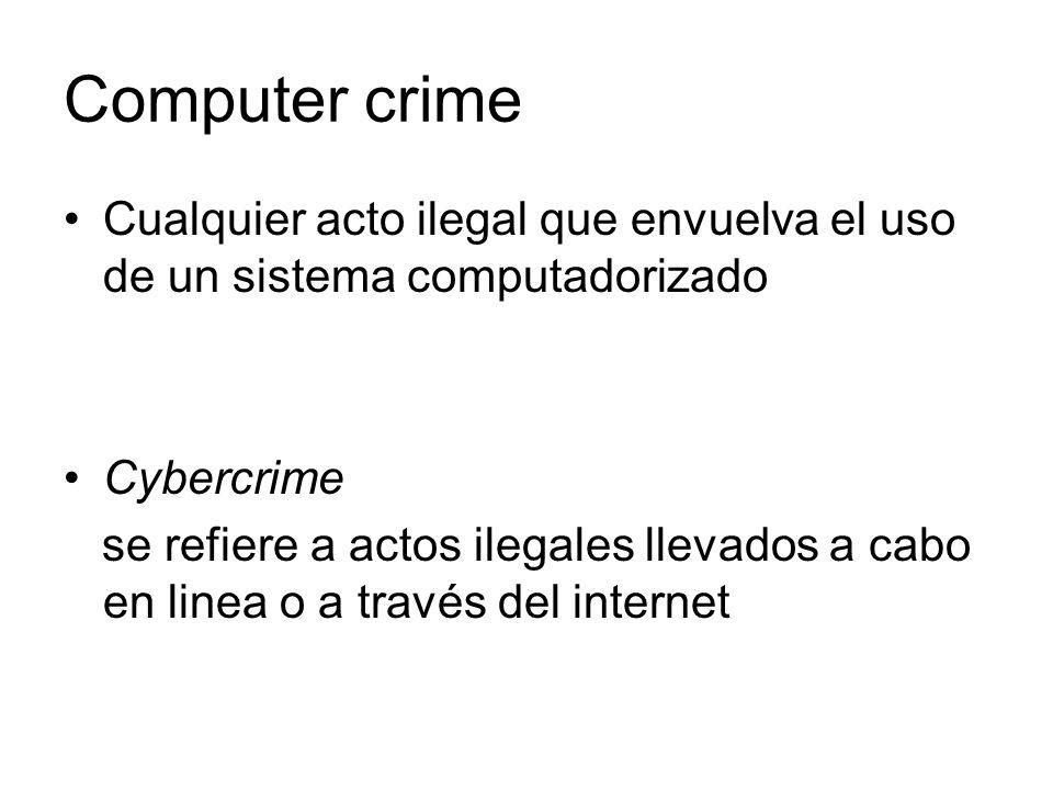 Computer crime Cualquier acto ilegal que envuelva el uso de un sistema computadorizado Cybercrime se refiere a actos ilegales llevados a cabo en linea o a través del internet