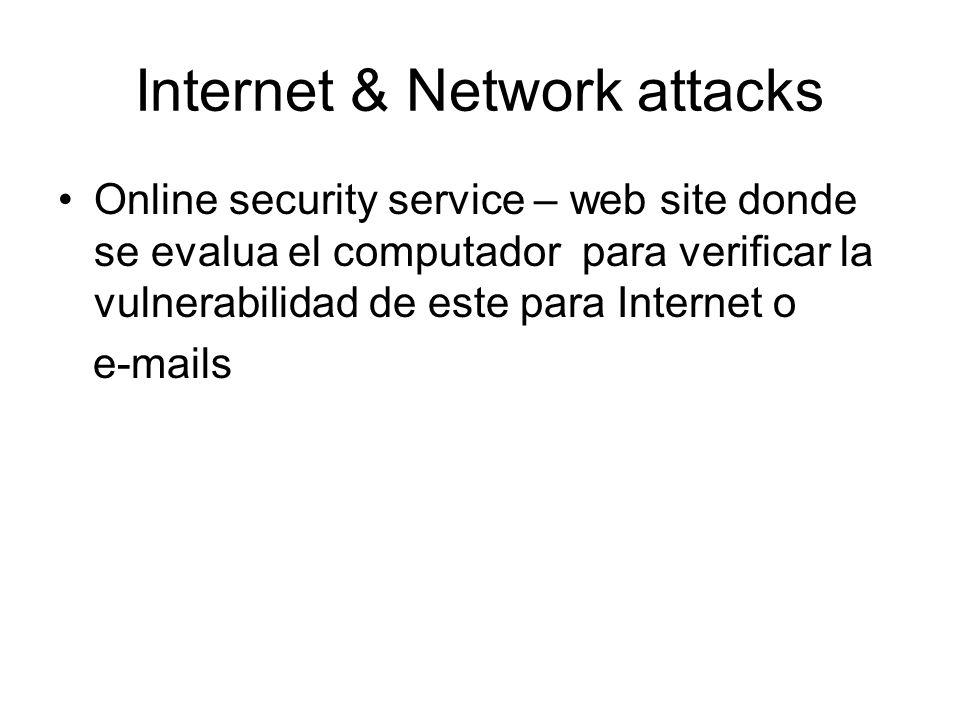 Internet & Network attacks Online security service – web site donde se evalua el computador para verificar la vulnerabilidad de este para Internet o e-mails