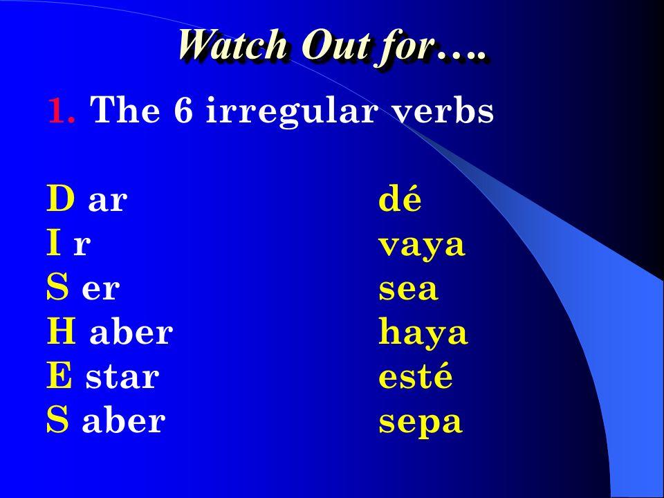 1.YO form of the verb 2.Drop the o 3.Add opposite endings 4.-AR:-e-emos -es-éis -e-en 5.-ER / -IR:-a-amos -as-áis -a-an Formation of the Subjunctive