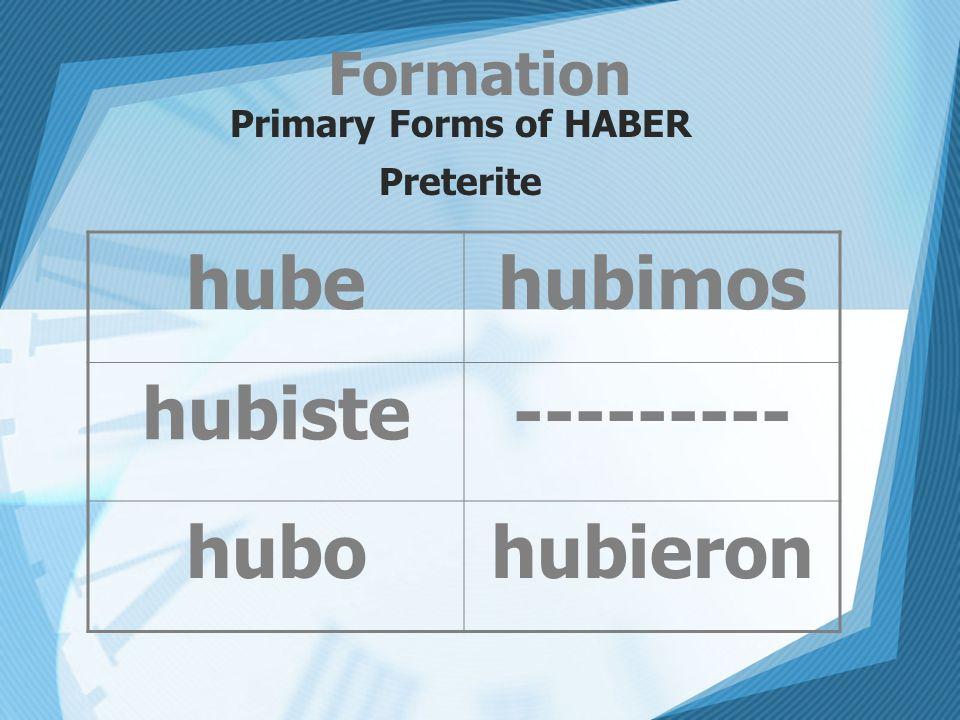 Formation Primary Forms of HABER Preterite hubehubimos hubiste--------- hubohubieron