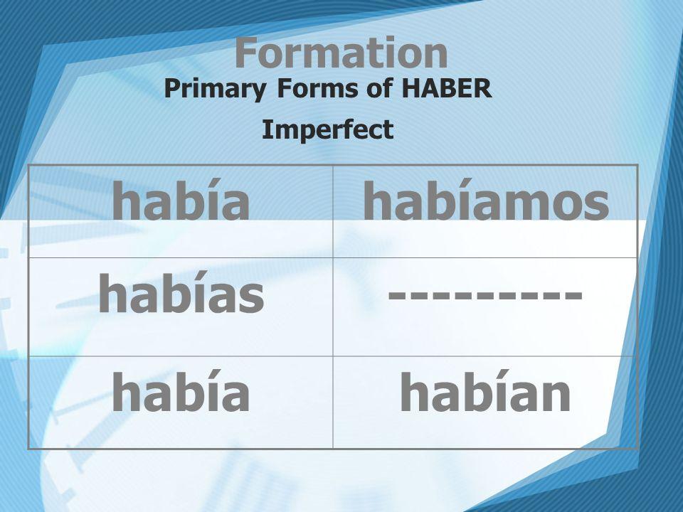 Formation Primary Forms of HABER Imperfect habíahabíamos habías--------- habíahabían