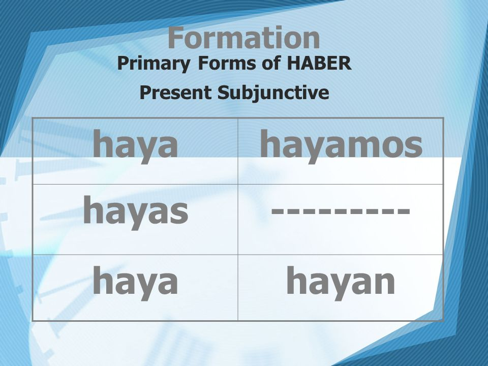 Formation Primary Forms of HABER Present Subjunctive hayahayamos hayas--------- hayahayan