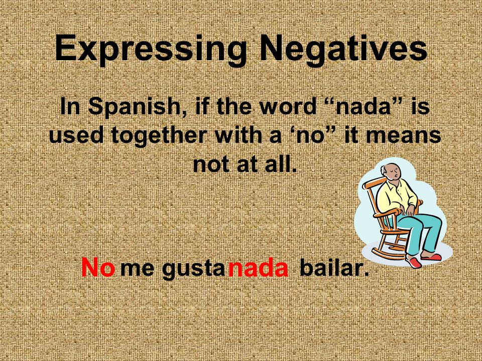 Expressing Negatives In Spanish, if the word nada is used together with a no it means not at all.