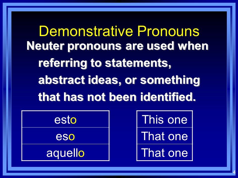 3 Demonstrative Pronouns ésteéstos éstaéstas éseésos ésaésas aquélaquéllos aquéllaaquéllas
