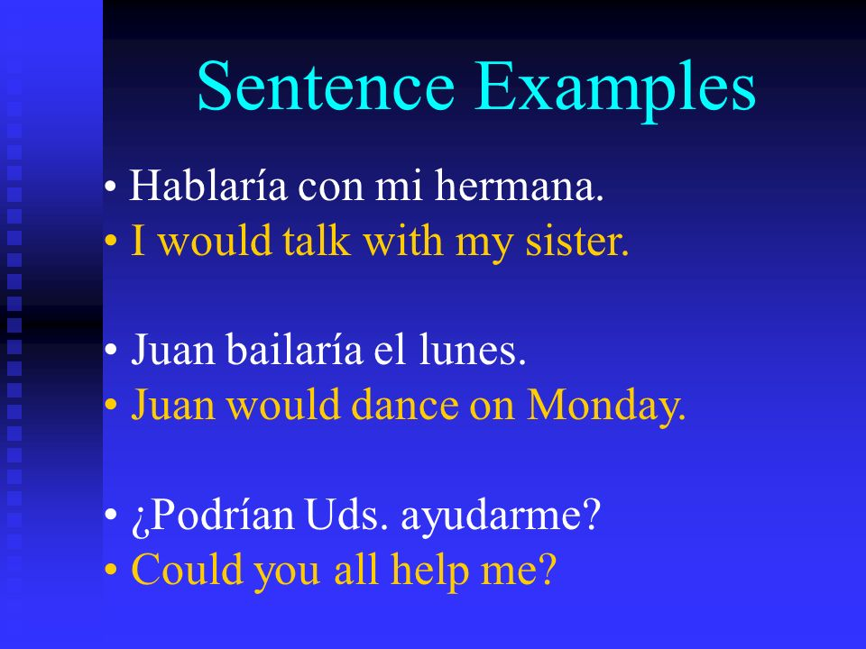 Sentence Examples Hablaría con mi hermana. I would talk with my sister.