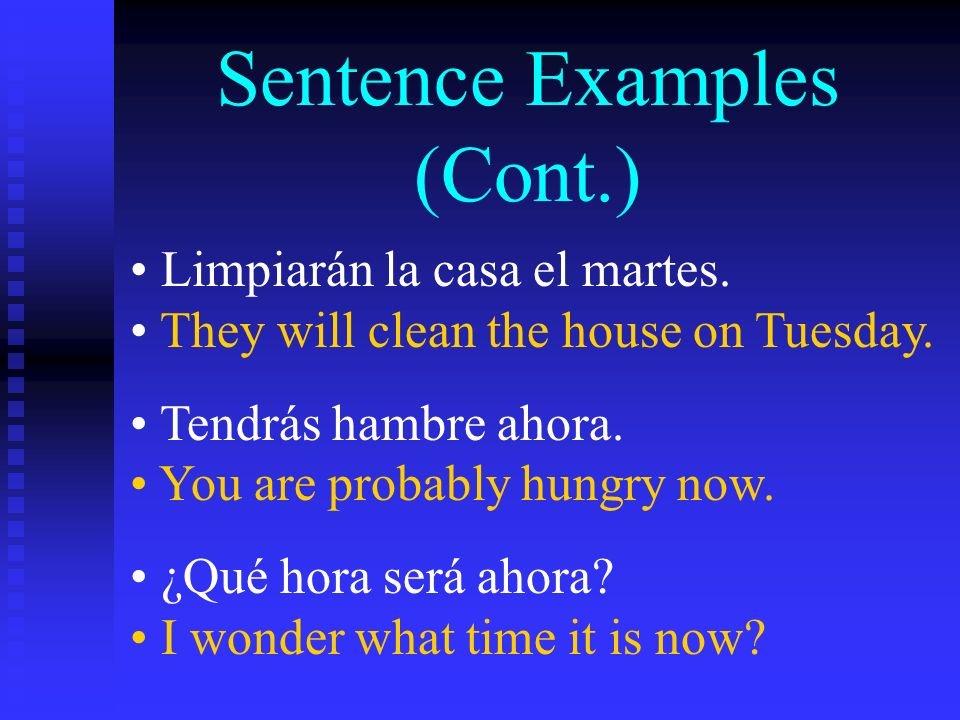 Practice Conjugating Conjugate the following verbs in the future tense: estudiarhablarsacar ponervivirescribir manejarleerdecir