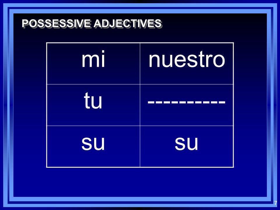 7 POSSESSIVE ADJECTIVES minuestro tu---------- su