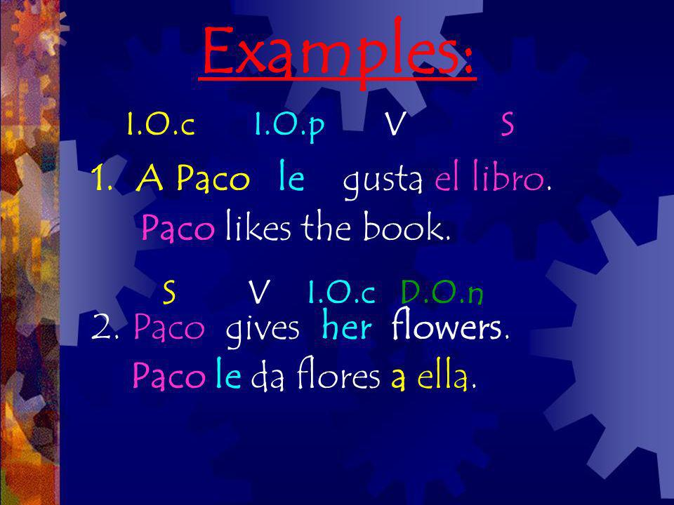 Examples: 1.A Paco le gusta el libro. Paco likes the book. 2. Paco gives her flowers. Paco le da flores a ella. S V I.O.c D.O.n I.O.c I.O.p V S