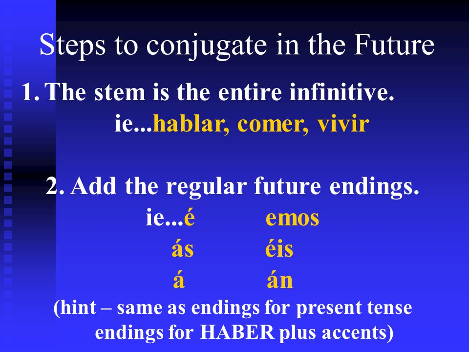 Steps to conjugate in the Future 1.The stem is the entire infinitive. ie...hablar, comer, vivir 2. Add the regular future endings. ie...é emos áséis á