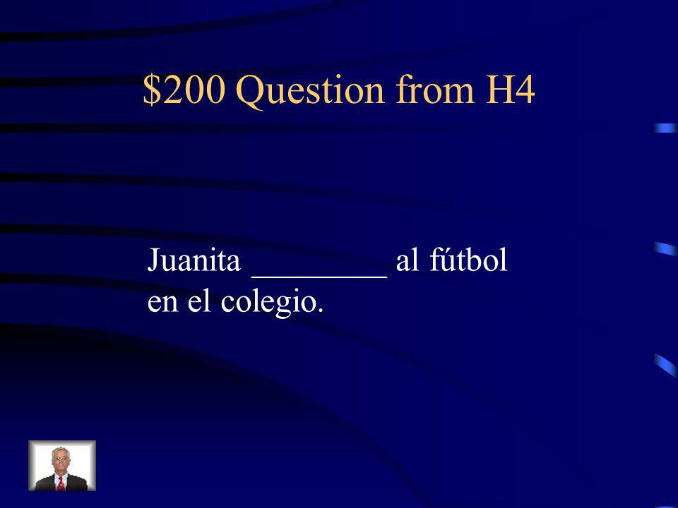 $100 Answer from H4 hago