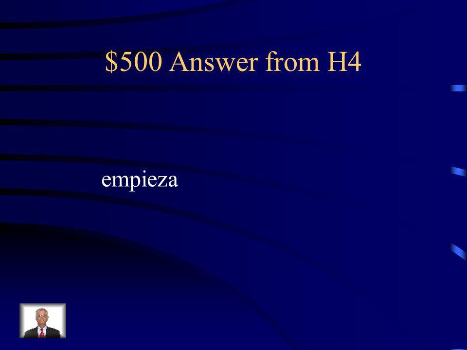$500 Question from H4 La clase de español _____________ a las 11:25.