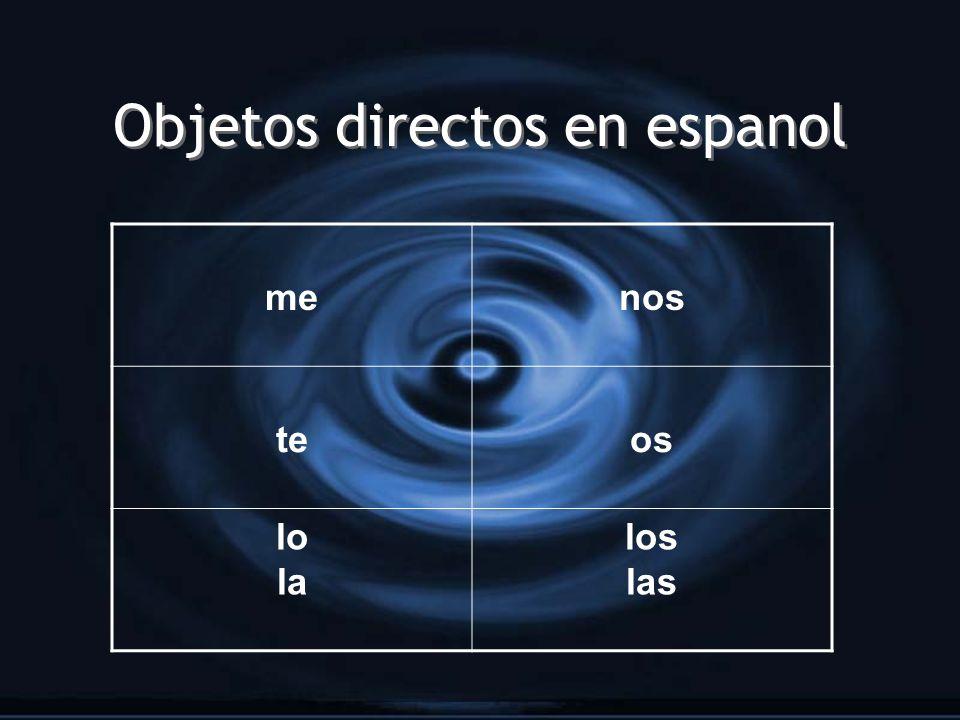 Objetos directos en espanol menos teos lo la los las