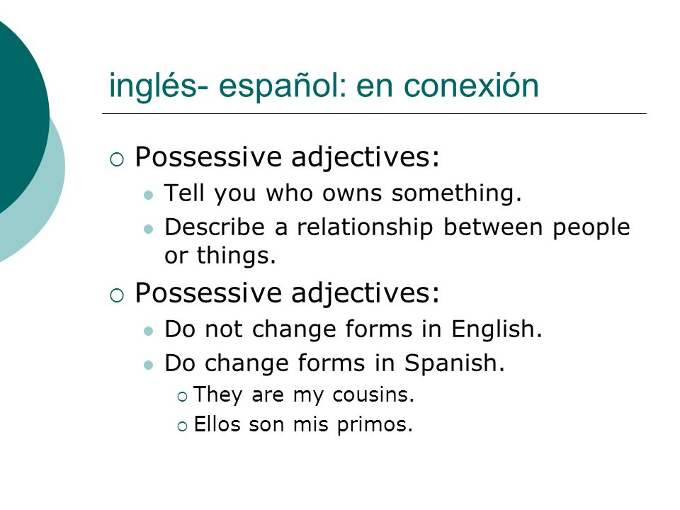 inglés- español: en conexión Possessive adjectives: Tell you who owns something. Describe a relationship between people or things. Possessive adjectiv