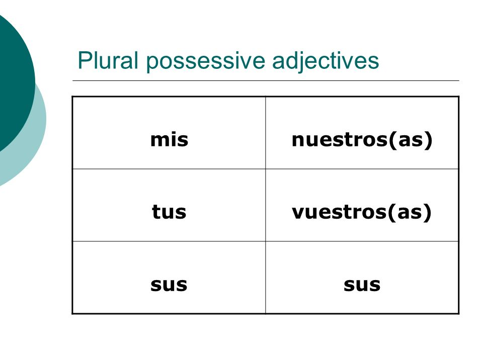 Plural possessive adjectives misnuestros(as) tusvuestros(as) sus