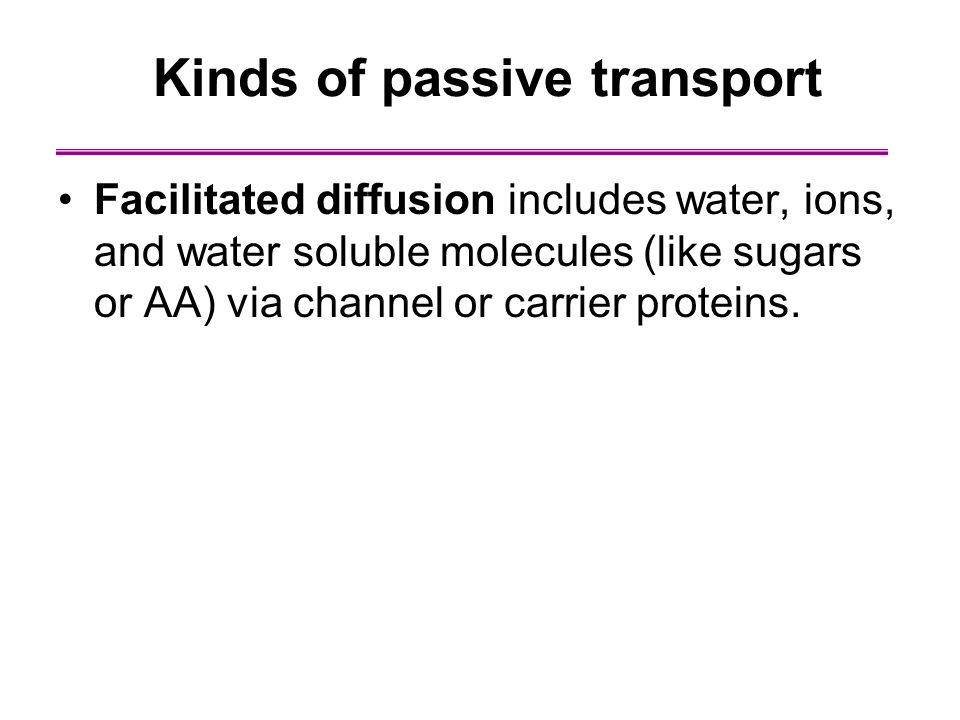 Facilitated diffusion includes water, ions, and water soluble molecules (like sugars or AA) via channel or carrier proteins. Kinds of passive transpor