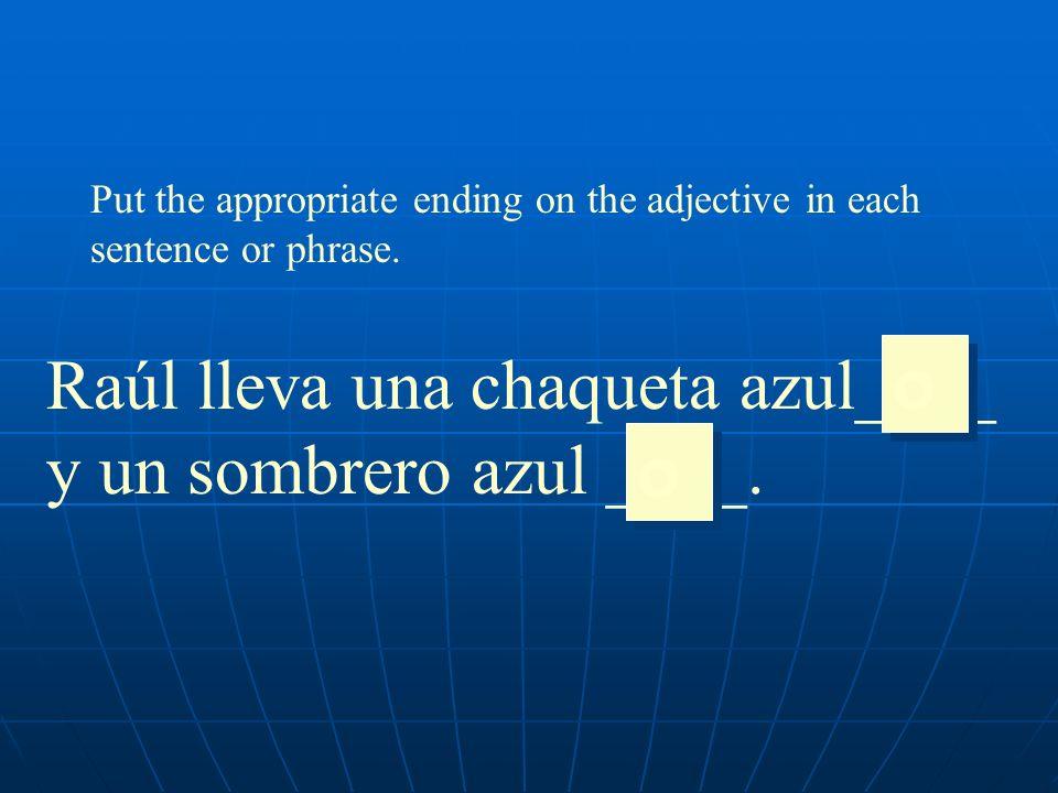 Put the appropriate ending on the adjective in each sentence or phrase. Raúl lleva una chaqueta azul____ y un sombrero azul ____. o o o o