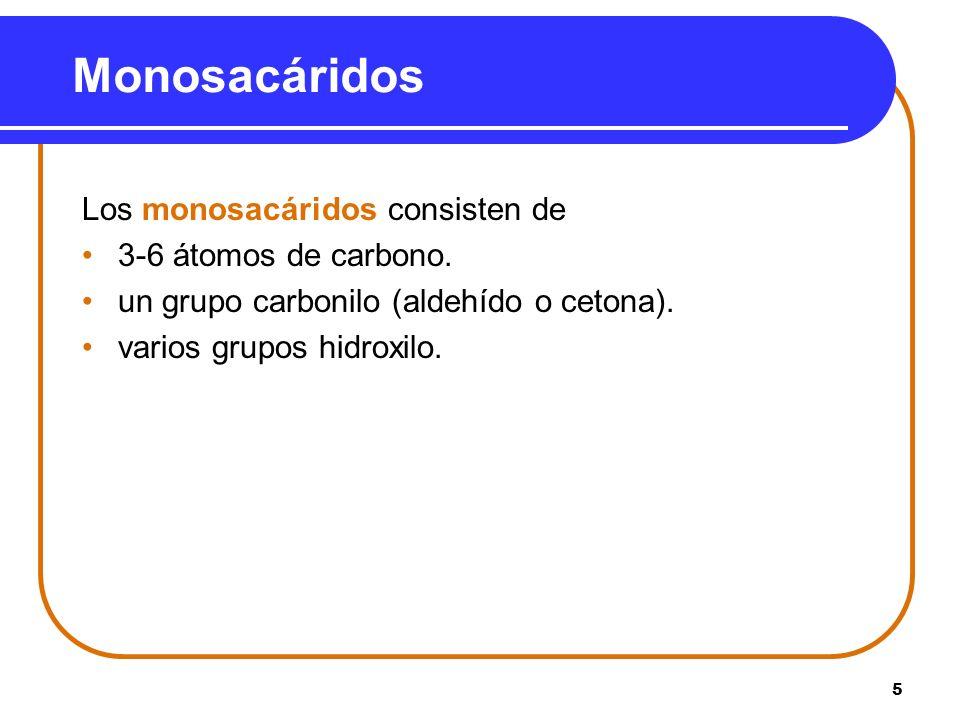 5 Monosacáridos Los monosacáridos consisten de 3-6 átomos de carbono. un grupo carbonilo (aldehído o cetona). varios grupos hidroxilo.