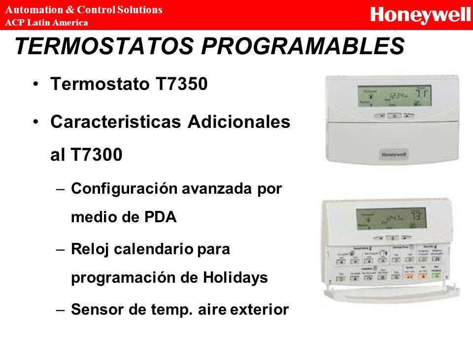 TERMOSTATOS PROGRAMABLES Termostato T7350 Caracteristicas Adicionales al T7300 –Configuración avanzada por medio de PDA –Reloj calendario para program