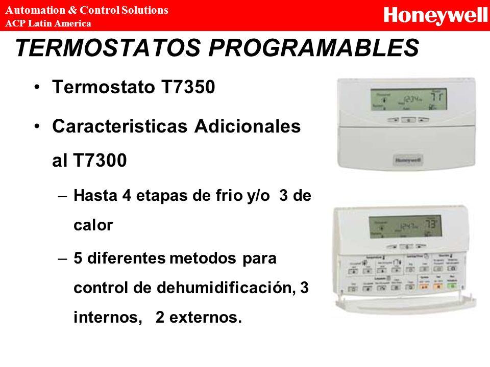 TERMOSTATOS PROGRAMABLES Termostato T7350 Caracteristicas Adicionales al T7300 –Hasta 4 etapas de frio y/o 3 de calor –5 diferentes metodos para contr