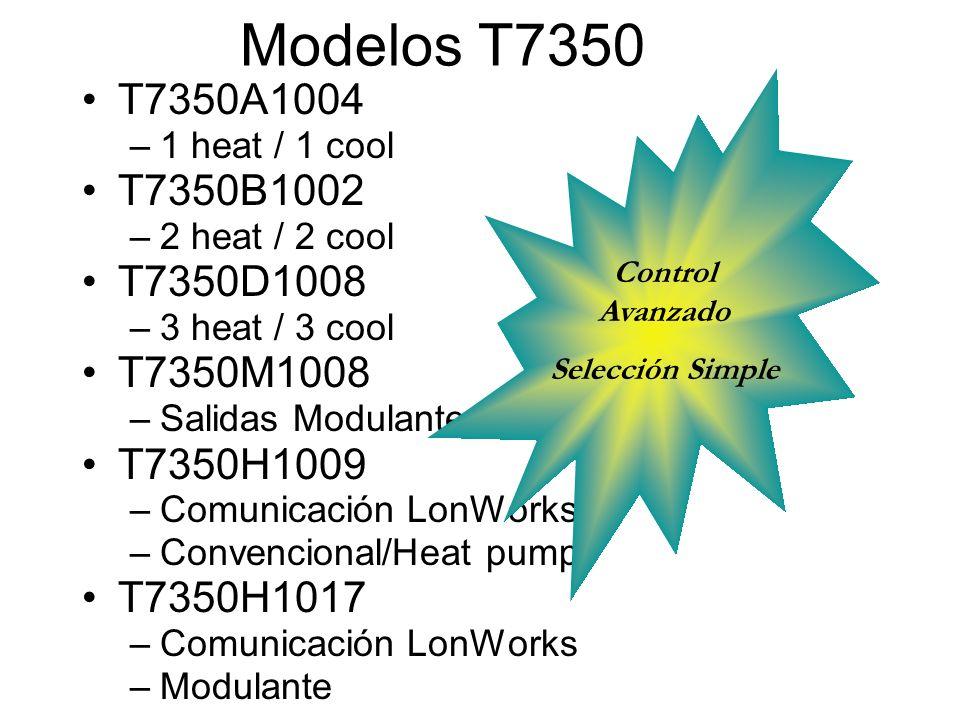 Modelos T7350 T7350A1004 –1 heat / 1 cool T7350B1002 –2 heat / 2 cool T7350D1008 –3 heat / 3 cool T7350M1008 –Salidas Modulantes T7350H1009 –Comunicac