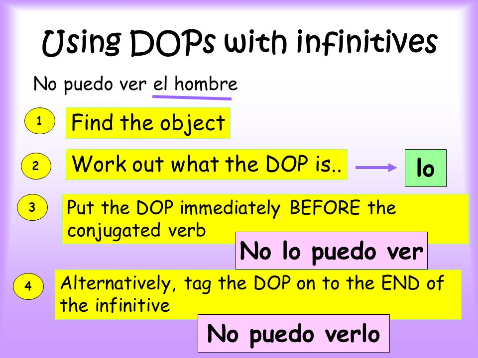 Using DOPs with infinitives No puedo ver el hombre 1 Find the object 2 Work out what the DOP is..