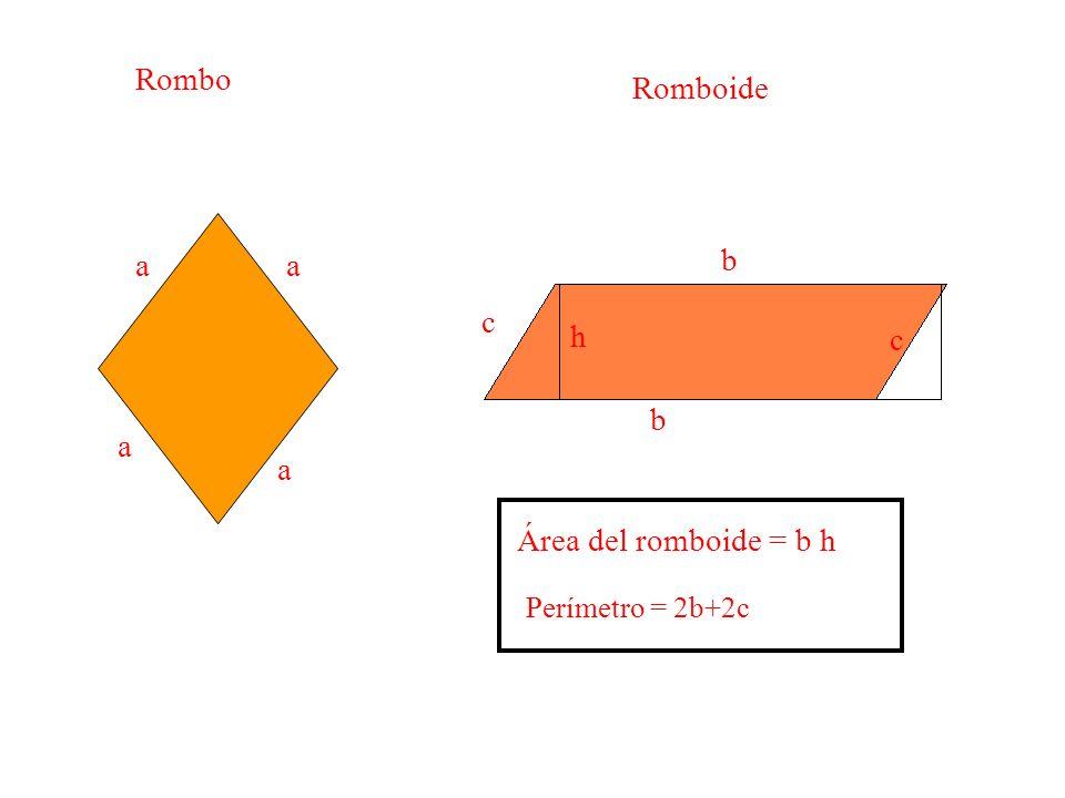 Rombo Romboide a a aa b b c c h Área del romboide = b h Perímetro = 2b+2c