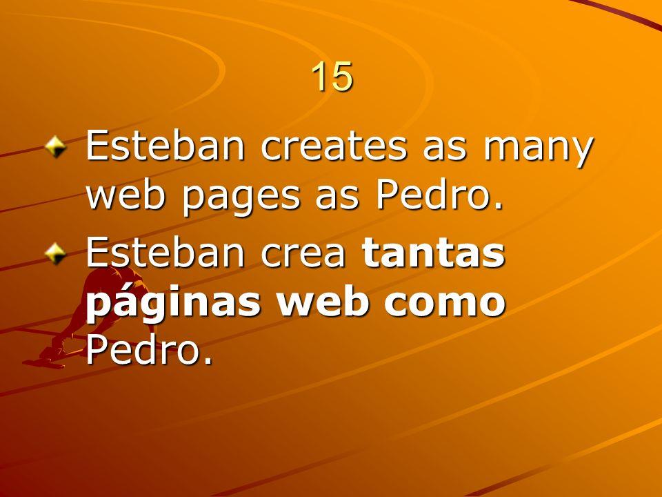 15 Esteban creates as many web pages as Pedro. Esteban crea tantas páginas web como Pedro.