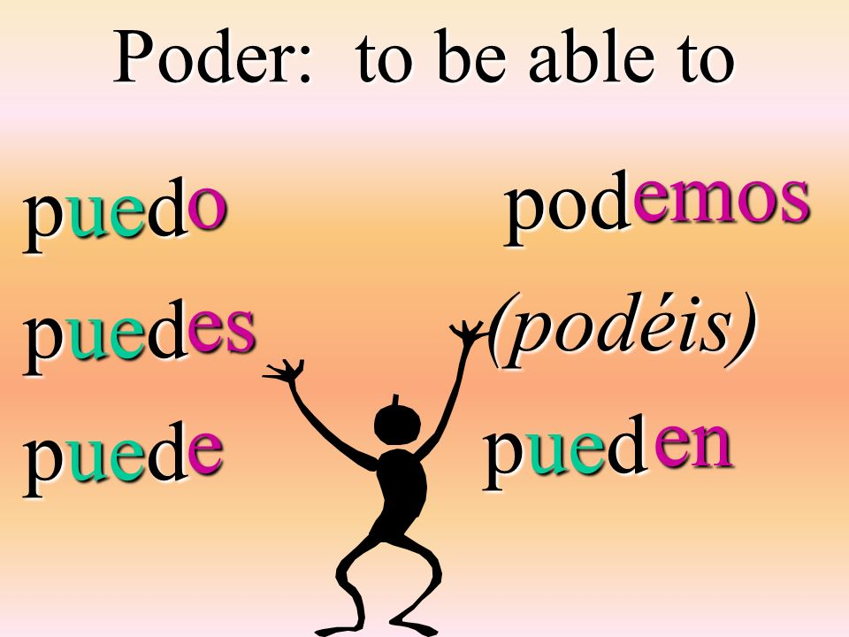 Poder: to be able to pued pod pod(podéis) pued oese emos en en