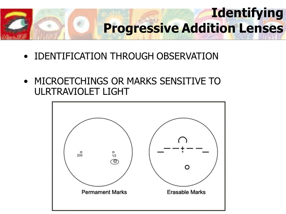 Identifying Progressive Addition Lenses IDENTIFICATION THROUGH OBSERVATION MICROETCHINGS OR MARKS SENSITIVE TO ULRTRAVIOLET LIGHT