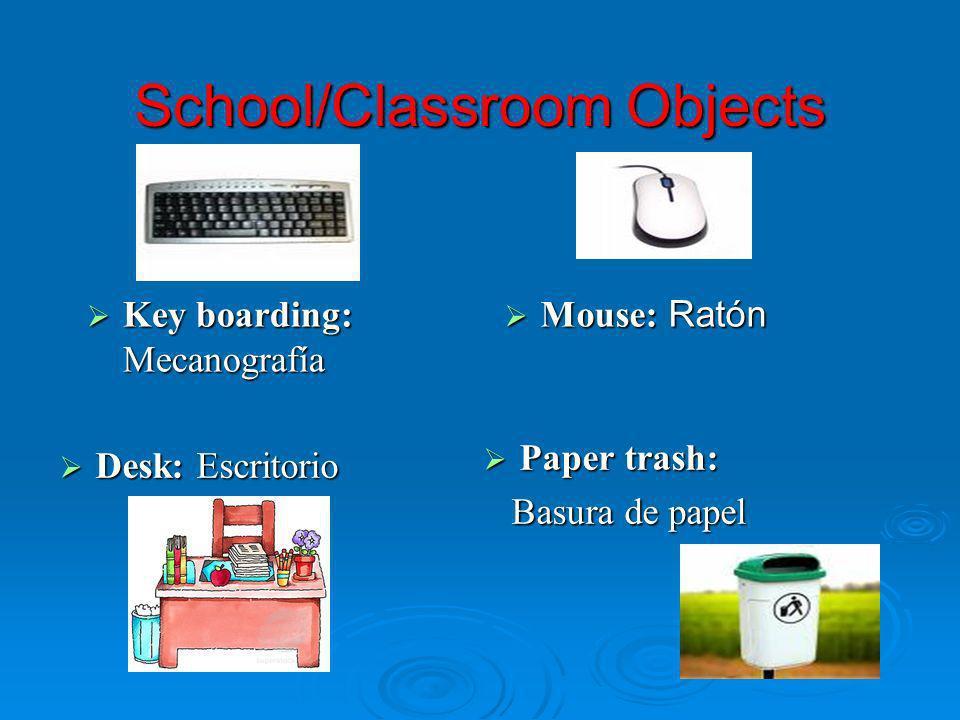 School/Classroom Objects Key boarding: Mecanografía Key boarding: Mecanografía Mouse: Ratón Mouse: Ratón Desk: Escritorio Desk: Escritorio Paper trash