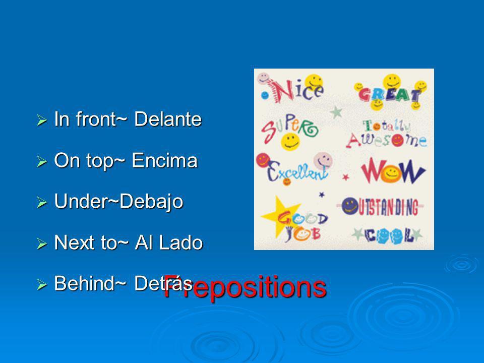 Prepositions In front~ Delante In front~ Delante On top~ Encima On top~ Encima Under~Debajo Under~Debajo Next to~ Al Lado Next to~ Al Lado Behind~ Det