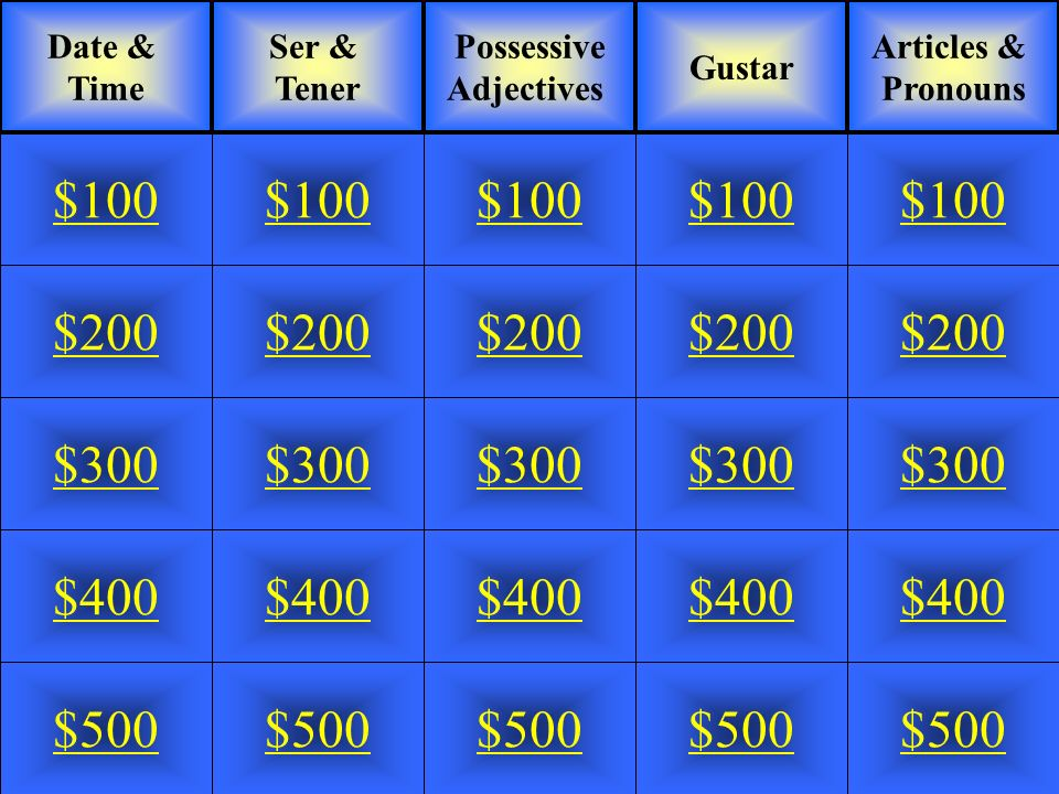 Jeopardy Game for [Enter Name of Subject]