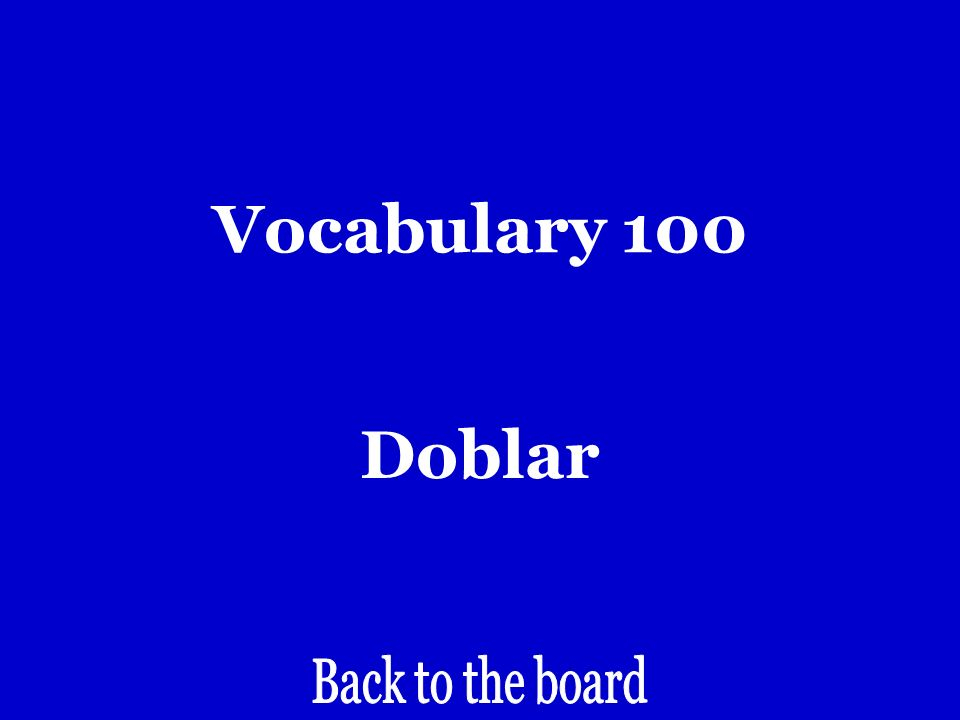 Vocabulary 100 Turn