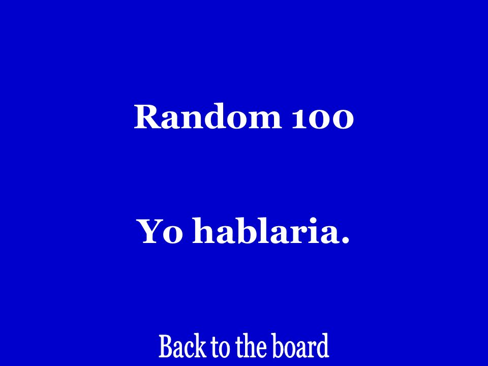 Random 100 I would speak… (if or but…)