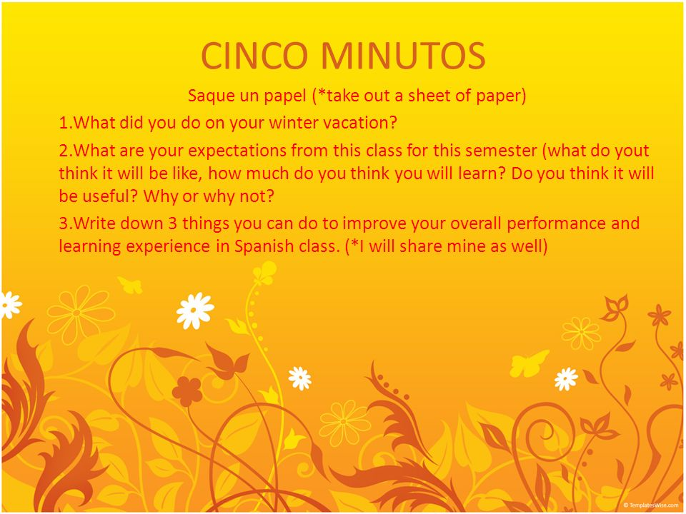CINCO MINUTOS Saque un papel (*take out a sheet of paper) 1.What did you do on your winter vacation? 2.What are your expectations from this class for
