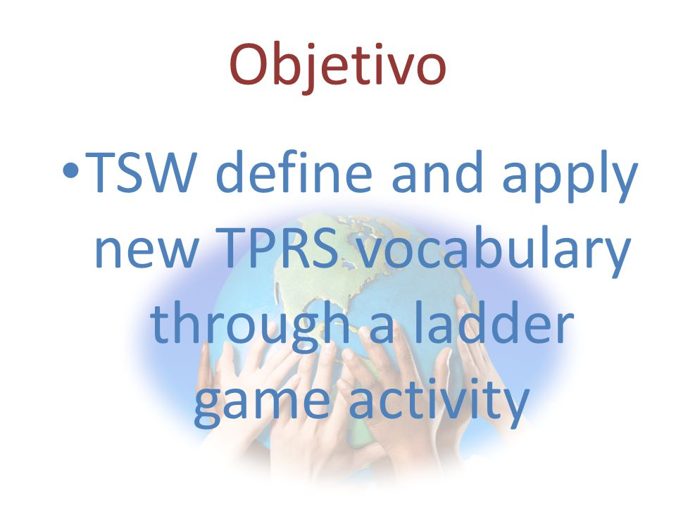 AGENDA Topic: TPRS set #3 Cinco Minutos: Match the vocabulary words Teacher Instruction: Powerpoint led instruction using non-linguistic representation Guided Practice: Ladders game activity followed by mini quiz Closure: Mini quiz on all three sets / Media Consent Forms