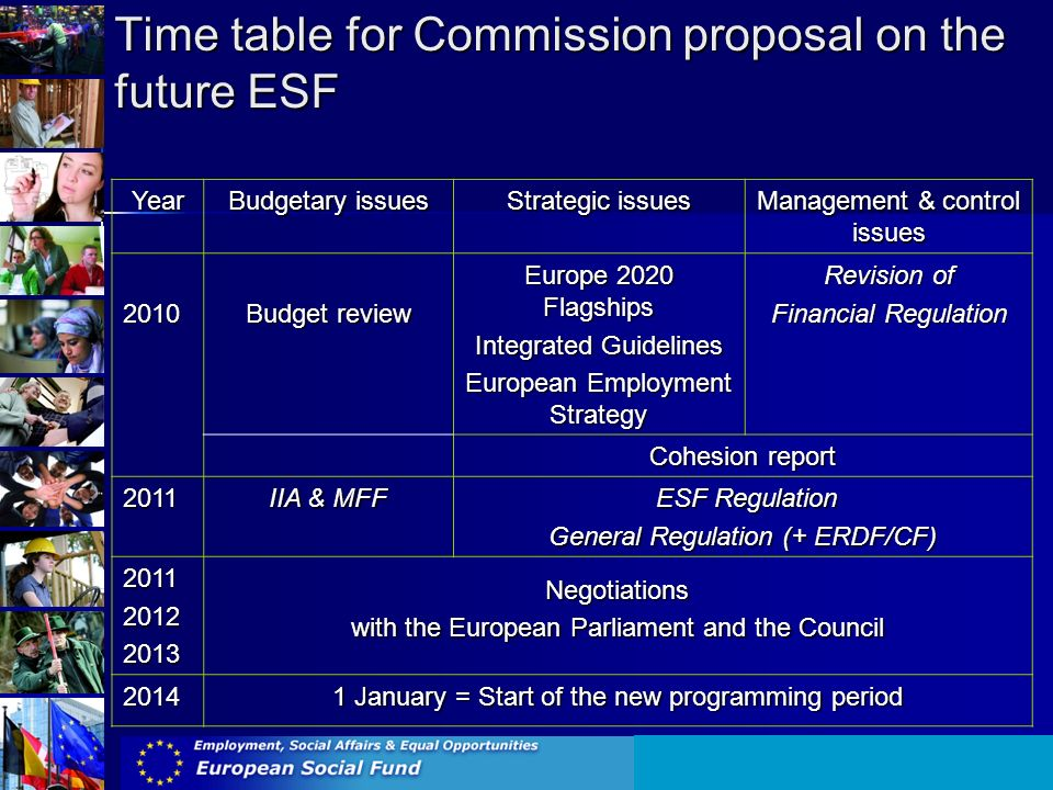 Year Budgetary issues Strategic issues Management & control issues 2010 Budget review Europe 2020 Flagships Integrated Guidelines European Employment