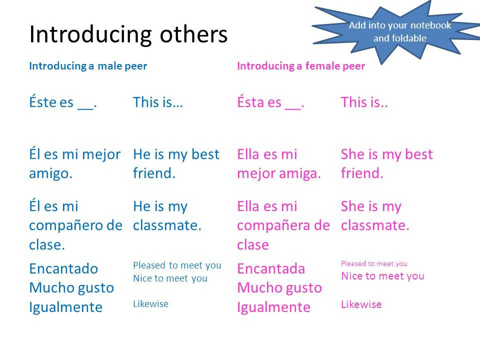 Introducing others Introducing a male peerIntroducing a female peer Éste es __.This is…Ésta es __.This is.. Él es mi mejor amigo. He is my best friend