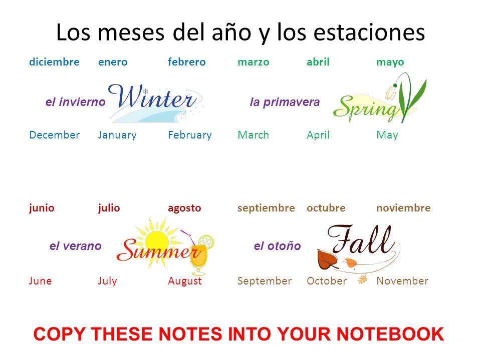 Los meses del año y los estaciones diciembreenerofebreromarzoabrilmayo DecemberJanuaryFebruaryMarchAprilMay juniojulioagostoseptiembreoctubrenoviembre