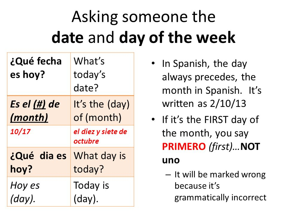 Asking someone the date and day of the week In Spanish, the day always precedes, the month in Spanish.