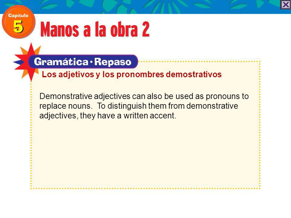 Demonstrative adjectives can also be used as pronouns to replace nouns.