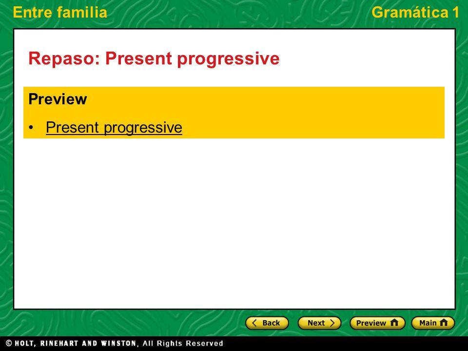 Entre familiaGramática 1 Repaso: Present progressive Preview Present progressive
