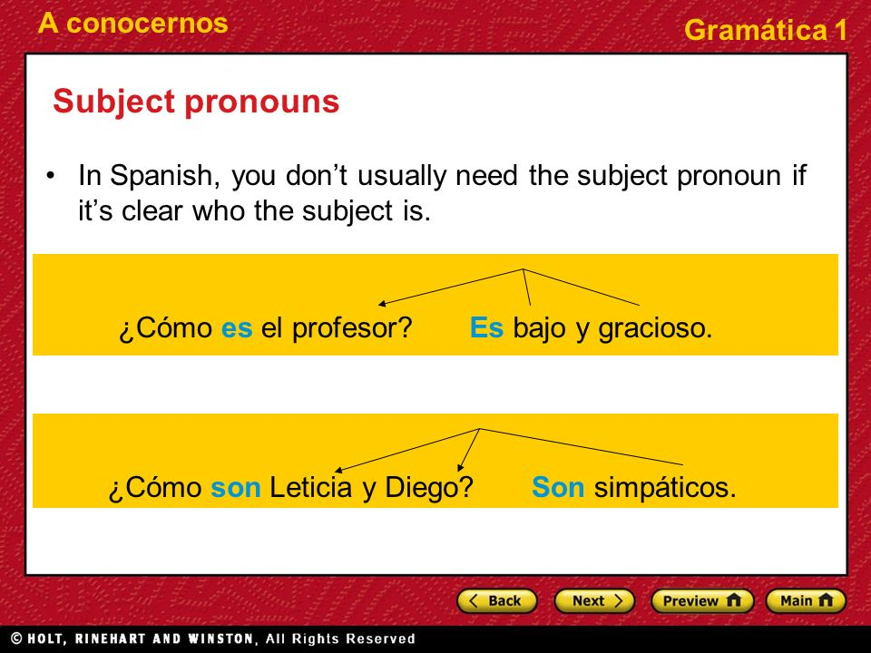 A conocernos Gramática 1 Subject pronouns In Spanish, you dont usually need the subject pronoun if its clear who the subject is. ¿Cómo es el profesor?