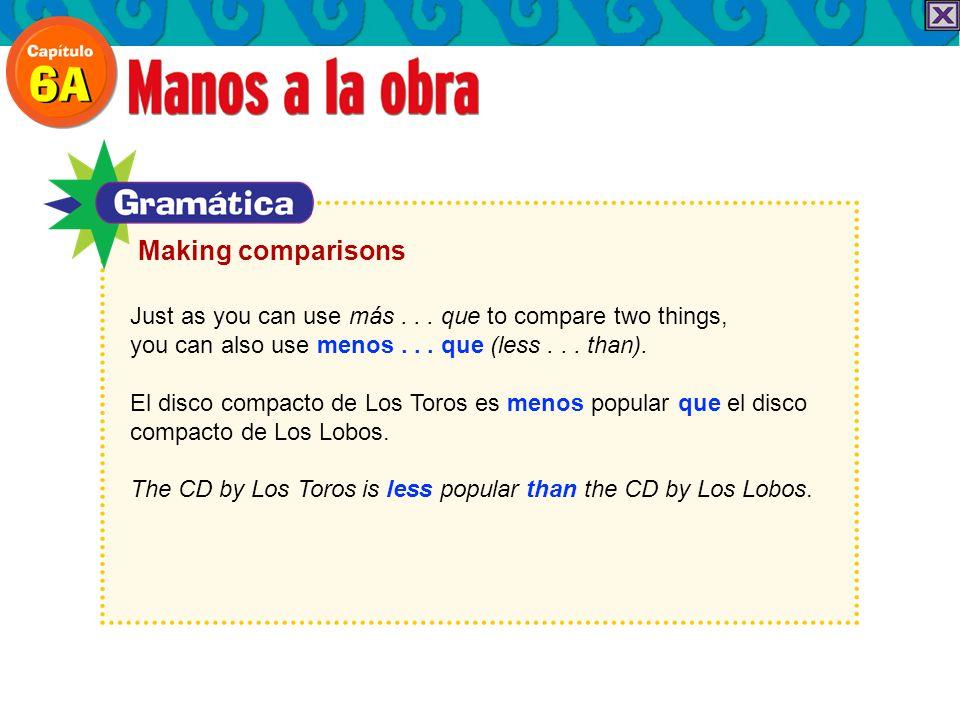 Just as you can use más... que to compare two things, you can also use menos... que (less... than). El disco compacto de Los Toros es menos popular qu