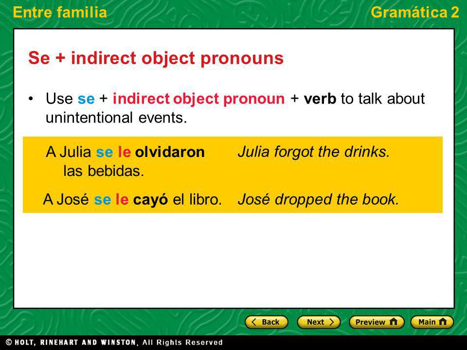 Entre familiaGramática 2 Se + indirect object pronouns Use se + indirect object pronoun + verb to talk about unintentional events.